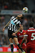 1st October 2017, St James Park, Newcastle upon Tyne, England; EPL Premier League football, Newcastle United versus Liverpool; Joselu of Newcastle United heads the ball forward in the 1-1 draw