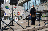 People gather outside MIT's student center in Cambridge, Massachusetts, during the March for Science demonstration on Sat., April 22, 2017.