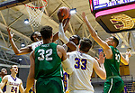University at Albany men's basketball defeats Binghamton University 71-54  at the  SEFCU Arena, Feb. 27, 2018. Teammates Alex Foster and Devonte Campbell battle for a first half rebound. (Bruce Dudek / Cal Sport Media/Eclipse Sportswire)
