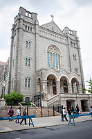 Basilica of Our Lady of Perpetual Help in the neighborhood of Sunset Park in Brooklyn in New York, seen on Sunday, May 14, 2017. The area is home to a polyglot of immigrants including Mexican, Middle-Eastern and Asian. (© Richard B. Levine)