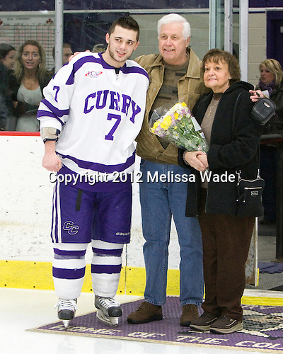 Greg Fosso (Curry - 7) - The Curry College Colonels defeated the Johnson & Wales University Wildcats 5-4 on Curry's senior night on Saturday, February 18, 2012, at Max Ulin Rink in Milton, Massachusetts.