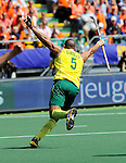 The Hague, Netherlands, June 15: Chris Ciriello #5 of Australia celebrates after scoring a penalty corner to tie the game at 1-1 during the field hockey gold match (Men) between Australia and The Netherlands on June 15, 2014 during the World Cup 2014 at Kyocera Stadium in The Hague, Netherlands. Final score 6-1 (2-1)  (Photo by Dirk Markgraf / www.265-images.com) *** Local caption ***