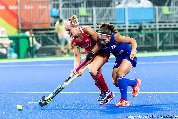 Alyssa Manley #29 of United States contest for the ball during USA vs Japan in a Pool B game at the Rio 2016 Olympics at the Olympic Hockey Centre in Rio de Janeiro, Brazil.