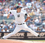 Masahiro Tanaka (Yankees),<br /> AUGUST 9, 2015 - MLB :<br /> Masahiro Tanaka of the New York Yankees pitches during the Major League Baseball game against the Toronto Blue Jays at Yankee Stadium in the Bronx, New York, United States. (Photo by AFLO)