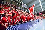 Eskilstuna 2014-05-15 Handboll SM-semifinal Eskilstuna Guif - Alings&aring;s HK :  <br /> Eskilstuna Guif supporter med en flagga<br /> (Foto: Kenta J&ouml;nsson) Nyckelord:  Eskilstuna Guif Sporthallen Alings&aring;s AHK SM Semifinal Semi  supporter fans publik supporters