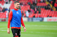 Lincoln City's James Wilson during the pre-match warm-up<br /> <br /> Photographer Andrew Vaughan/CameraSport<br /> <br /> Emirates FA Cup First Round - Lincoln City v Northampton Town - Saturday 10th November 2018 - Sincil Bank - Lincoln<br />  <br /> World Copyright &copy; 2018 CameraSport. All rights reserved. 43 Linden Ave. Countesthorpe. Leicester. England. LE8 5PG - Tel: +44 (0) 116 277 4147 - admin@camerasport.com - www.camerasport.com