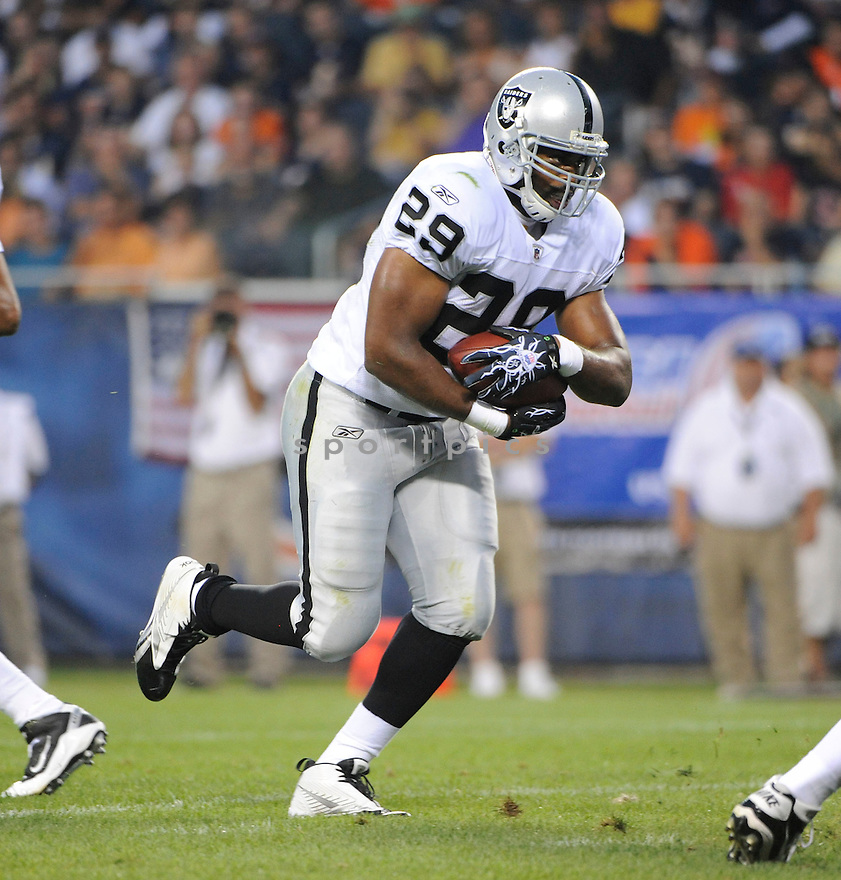 MICHAEL BUSH, of the Oakland Raiders, in action during the Raiders game against the Chicago Bears at Soldier Field in Chicago, IL.  on August 21, 2010.  The Raiders beat the Bears 32-17 in the second week of preseason games...