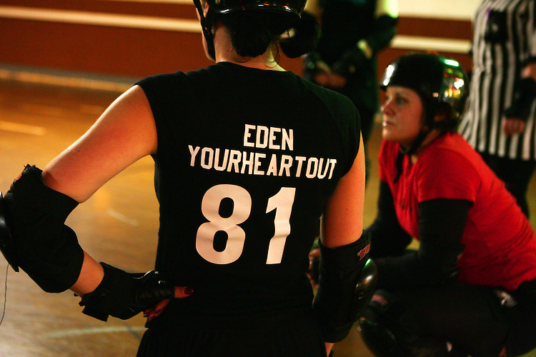 February 19, 2008; Santa Cruz, CA, USA; Detailed view of the jersey of a female roller skater during Santa Cruz Rollergirls practice in Santa Cruz, CA. Photo by: Phillip Carter