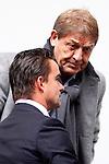 Nederland, Amsterdam, 7 oktober  2012.Seizoen 2012-2013.Eredivisie.Ajax-FC Utrecht.Marc Overmars directeur voetbalzaken van Ajax in gesprek met Theo van Duivenbode lid van De raad van commissarissen van Ajax