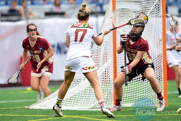 FOXBORO, MA - MAY 28:  Caroline Wannen #17 of the Maryland during the Division I Women's Lacrosse Championship held at Gillette Stadium on May 28, 2017 in Foxboro, Massachusetts. (Photo by Ben Solomon/NCAA Photos via Getty Images)