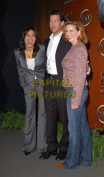 MELISSA GILBERT, JAMES DENTON & ROSARIO DAWSON.The 11th Annual Screen Actors Guild Award Nomination Announcements held at The Pacific Design Center in Los Angeles, California .January 11th,2005.full length, grey, gray suit, hand in pocket, laughing, pink tweed jacket.www.capitalpictures.com.sales@capitalpictures.com.Supplied By Capital PIctures