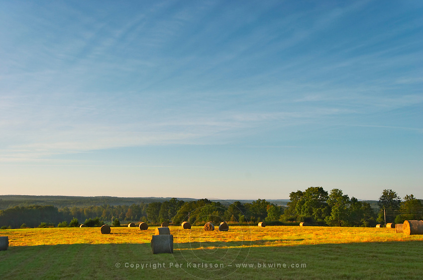 Cut field with hay bales at sunrise. Smaland region. Sweden, Europe.