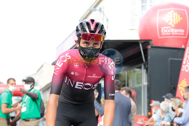 Egan Bernal (COL) Team Ineos arrives at sign on before Stage 3 of the Route d'Occitanie 2020, running 163.5km from Saint-Gaudens to Col de Beyrède, France. 3rd August 2020. <br /> Picture: Colin Flockton | Cyclefile<br /> <br /> All photos usage must carry mandatory copyright credit (© Cyclefile | Colin Flockton)