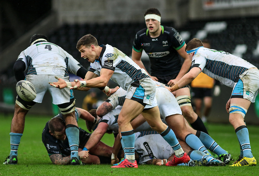 Glasgow Warriors' Grayson Hart passes from the base of a ruck.<br /> <br /> Photographer /Dan MintoCameraSport<br /> <br /> Guinness PRO12 Round 16  - Ospreys v Glasgow Warriors - Sunday 26th February 2017 - Liberty Stadium - Swansea<br /> <br /> World Copyright &copy; 2017 CameraSport. All rights reserved. 43 Linden Ave. Countesthorpe. Leicester. England. LE8 5PG - Tel: +44 (0) 116 277 4147 - admin@camerasport.com - www.camerasport.com