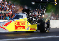 Jun 3, 2016; Epping , NH, USA; NHRA top fuel driver Shawn Langdon during qualifying for the New England Nationals at New England Dragway. Mandatory Credit: Mark J. Rebilas-USA TODAY Sports