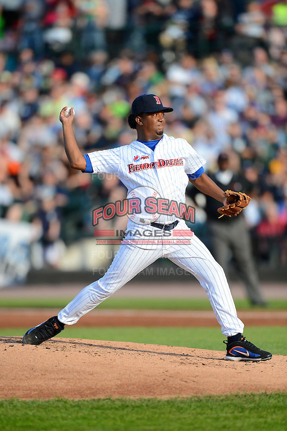 Former Boston Red Sox pitcher Pedro Martinez #45 delivers a pitch during the MLB Pepsi Max Field of Dreams game on May 18, 2013 at Frontier Field in Rochester, New York.  (Mike Janes/Four Seam Images)