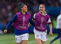 PARIS,  - JUNE 28: Ali Krieger #11 celebrates with Morgan Brian #6 during a game between France and USWNT at Parc des Princes on June 28, 2019 in Paris, France.