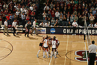 3 December 2005: Kristin Richards, Katie Goldhahn, Njideka Nnamani, and Erin Waller and Courtney Schultz during Stanford's 3-1 loss to Santa Clara University at Maples Pavilion in Stanford, CA.