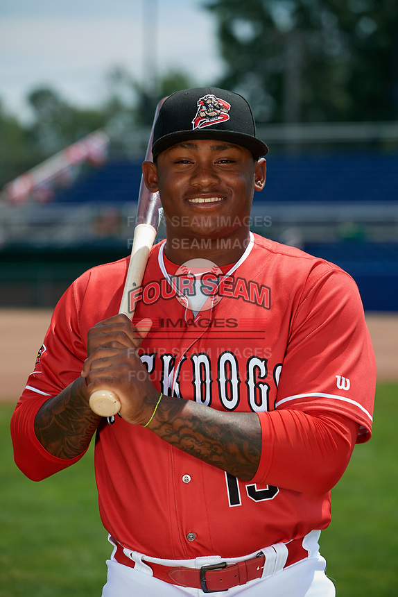Batavia Muckdogs Albert Guaimaro (13) poses for a photo on July 2, 2018 at Dwyer Stadium in Batavia, New York.  (Mike Janes/Four Seam Images)