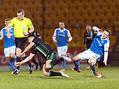 16th March 2018, McDiarmid Park, Perth, Scotland; Scottish Premier League football, St Johnstone versus Hibernian; Blair Alston of St Johnstone brings down John McGinn of Hibernian