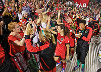 Portland, OR - Sunday Sept. 11, 2016: Fans, Hayley Raso, Dagny Brynjarsdottir during a regular season National Women's Soccer League (NWSL) match between the Portland Thorns FC and the Western New York Flash at Providence Park.