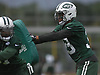 Jamal Adams #33, New York Jets rookie safety and first round selection (sixth overall) in the 2017 NFL Draft, right, practices with teammates during the first day of offseason training activity at the Atlantic Health Jets Training Center in Florham Park, NJ on Tuesday, May 23, 2017.