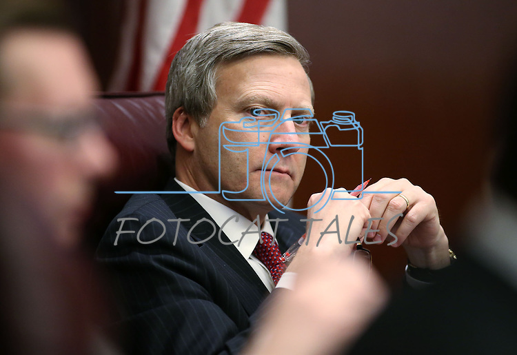 Nevada Sen. Greg Brower, R-Reno, works in committee at the Legislative Building in Carson City, Nev., on Tuesday, May 5, 2015.<br /> Photo by Cathleen Allison