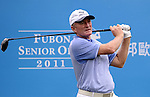 TAIPEI, TAIWAN - NOVEMBER 18:  Chris Williams of South Africa tees off on the 1st hole during day one of the Fubon Senior Open at Miramar Golf & Country Club on November 18, 2011 in Taipei, Taiwan. Photo by Victor Fraile / The Power of Sport Images