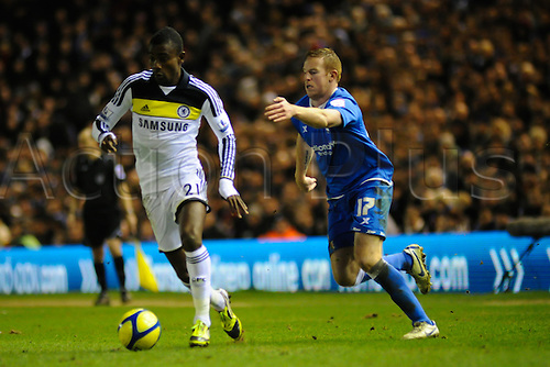 06.03.2012 Birmingham, England. Birmingham City v Chelsea. Salomon Kalou (Chelsea) and Adam Rooney (Birmingham City)  in action during the FA Cup 5th Round replay match played at the St Andrews Stadium. Chelsea won the replay by a score of 0-2 to progress to the next round.