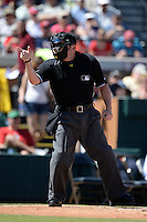 Umpire Marty Foster during a spring training game between the Miami Marlins and Detroit Tigers on March 3, 2014 at Joker Marchant Stadium in Lakeland, Florida.  Miami defeated Detroit 4-2.  (Mike Janes/Four Seam Images)