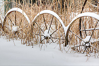 A Wagonwheel finance covered with snow in rural Northwest Arkansas.