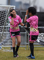 The Pink Ladies talk tactics during the SOCCER SIX Celebrity Football Event at the Queen Elizabeth Olympic Park, London, England on 26 March 2016. Photo by Andy Rowland.