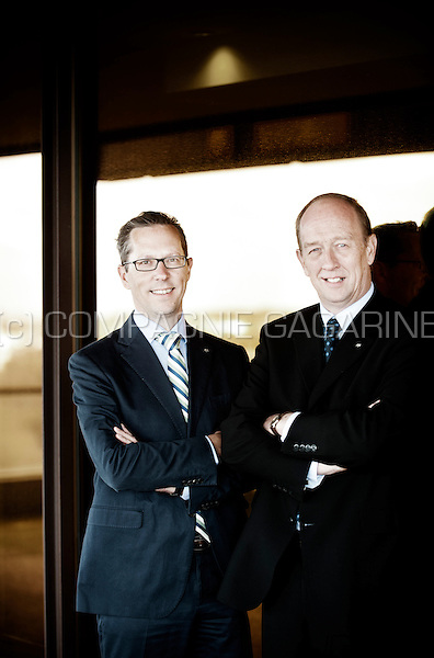 Stephane Slits, Member of the Management Committee and the Board of Directors of Axa Belgium, and Gunter Uytterhoeven, Chief Marketing Officer & Head of Transformation at AXA (Belgium, 07/04/2016)
