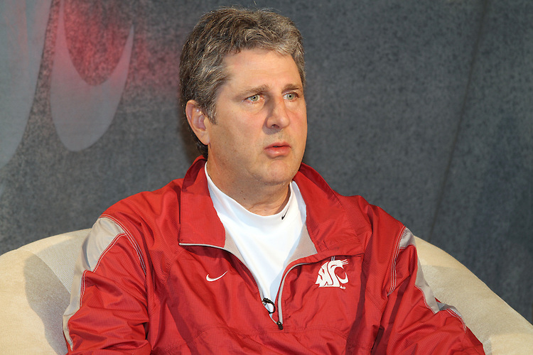 "Cougar head football coach, Mike Leach, is interviewed during Washington State University's ""Cougar Legends"" weekend at the Coeur d'Alene Resort in Coeur d'Alene, Idaho, on June 8-9, 2012."