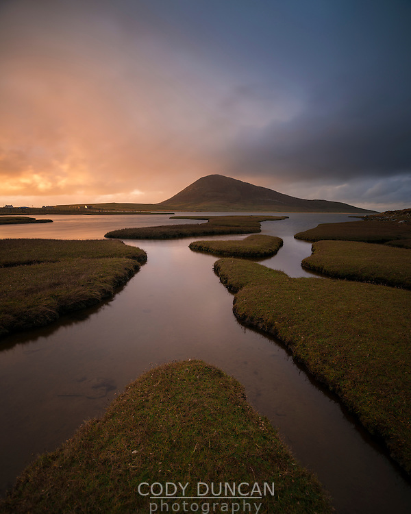 Bust of light over Ceapabhal and coastal marsh, Northton - An Taobh Tuath, Isle of Harris, Scotland