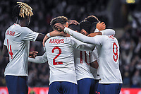 England Under 21's celebrate with scorer England Under 21's midfielder Phil Foden (10) during the UEFA Euro U21 Qualifying match between England U21 & Kosovo U21 at KCOM Craven Park, Hull, England on 9 September 2019. Photo by Stephen Buckley / PRiME Media Images.