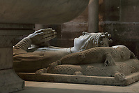 Effigy of Charles the Poet, 1394-1465, Duke of Orleans, made 1504, on the funerary monument of the Dukes of Orleans, marble, 16th century, with effigies of Louis, Duke of Orleans, 1372-1407, Valentine Visconti his wife, 1366-1408, and their sons Charles the Poet, 1394-1465, and Philip, 1396-1420, comte de Vertus, in the Chapelle Saint-Michel, in the Basilique Saint-Denis, Paris, France. Statuettes of 24 saints and apostles stand in niches around the tomb, which was commissioned in 1502 by Louis XII and made by Italian artists. This tomb was originally in the Chapelle des Celestins in Paris. The basilica is a large medieval 12th century Gothic abbey church and burial site of French kings from 10th - 18th centuries. Picture by Manuel Cohen