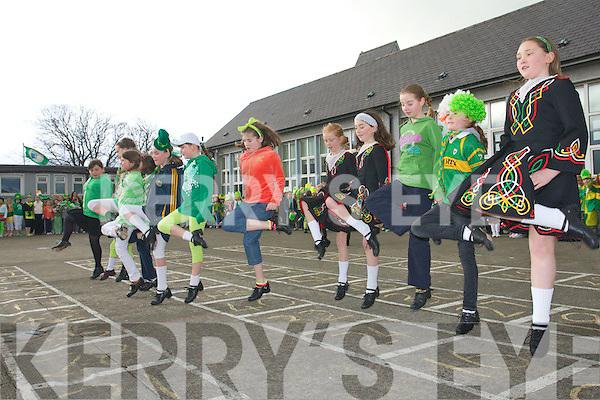Starting early: Children enjoying the Saint Patrick's day festivities at Balloonagh School last Friday.