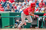 16 August 2017: Los Angeles Angels outfielder Ben Revere at bat against the Washington Nationals at Nationals Park in Washington, DC. The Angels defeated the Nationals 3-2 to split their 2-game series. Mandatory Credit: Ed Wolfstein Photo *** RAW (NEF) Image File Available ***