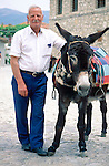 Omodos, near Troodos, old man with donkey, alter Mann mit Esel, Cyprus, Zypern
