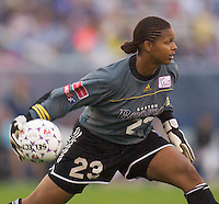 Boston goal keeper Karina LeBlanc feeds the ball to a defender. The Boston Breakers defeated the NY Power 3-2 on 8/01/03 at Mitchel Athletic Complex, Uniondale, NY..