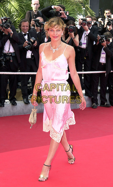 "MILLA JOVOVITCH.arriving at ""Gangs of New York"" Screening,.Cannes Film Festival, France, 20th May 2002.full length pink satin lace camisole vintage style dress.Ref: PL.www.capitalpictures.com.sales@capitalpictures.com.©Capital Pictures."