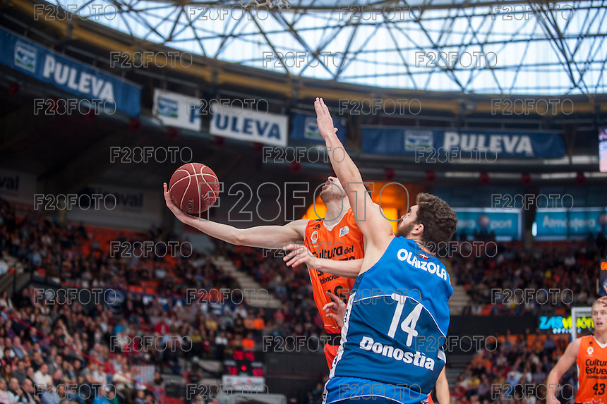 VALENCIA, SPAIN - NOVEMBER 22: Guillem Vives, Julen Olaizola during Endesa League match between Valencia Basket Club and Retabet.es GBC at Fonteta Stadium on November 22, 2015 in Valencia, Spain
