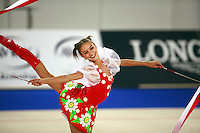 September 23, 2007; Patras, Greece;   Evgenia Kanaeva of Russia performs with 2-ribbons during gala exhibition at 2007 World Championships Patras. Photo by Tom Theobald.