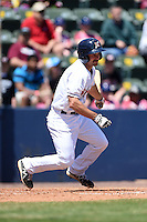Huntsville Stars catcher Adam Weisenburger (2) at bat during a game against the Mobile BayBears on April 23, 2014 at Joe Davis Stadium in Huntsville, Tennessee.  Huntsville defeated Mobile 4-1.  (Mike Janes/Four Seam Images)