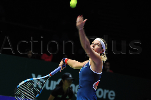 25.10.2016. Singapore, Malaysia. WTA Finals Singapore Open.  Dominika Cibulkova of Slovakia competes during the WTA Tennis  Womens Finals round robin match against Madison Keys of U.S. at Singapore Indoor Stadium, Oct. 25, 2016. Keys won 2-0.