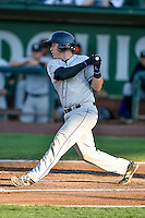 Brian Serven (20) of the Grand Junction Rockies follows through on his swing against the Ogden Raptors during the Pioneer League game at Lindquist Field on August 24, 2016 in Ogden, Utah. The Raptors defeated the Rockies 11-10. (Stephen Smith/Four Seam Images)