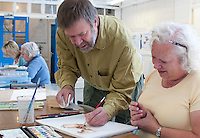 Watercolour class, Adult Learning Centre, Guildford, Surrey.