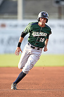 Jamestown Jammers outfielder Carl Anderson (18) running the bases during a game against the Batavia Muckdogs on July 25, 2014 at Dwyer Stadium in Batavia, New York.  Batavia defeated Jamestown 7-2.  (Mike Janes/Four Seam Images)