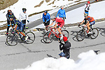 Nairo Quintana (COL) Movistar Team, Ilnur Zakarin (RUS) Team Katusha Alpecin and Vincenzo Nibali (ITA) Bahrain-Merida on the slopes of the Umbrail Pass the final climb during Stage 16 of the 100th edition of the Giro d'Italia 2017, running 222km from Rovetta to Bormio, Italy. 23rd May 2017.<br /> Picture: LaPresse/Fabio Ferrari | Cyclefile<br /> <br /> <br /> All photos usage must carry mandatory copyright credit (&copy; Cyclefile | LaPresse/Fabio Ferrari)